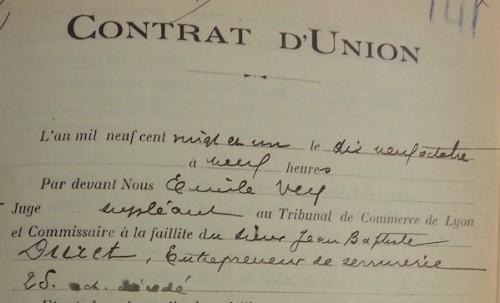 contrat union DURET