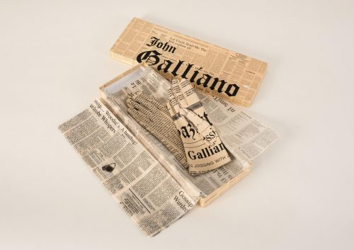 Newspaper print leather gloves, John Galliano for Christian Dior, 2000