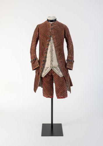 Man's red woven velvet coat and breeches, 1750s