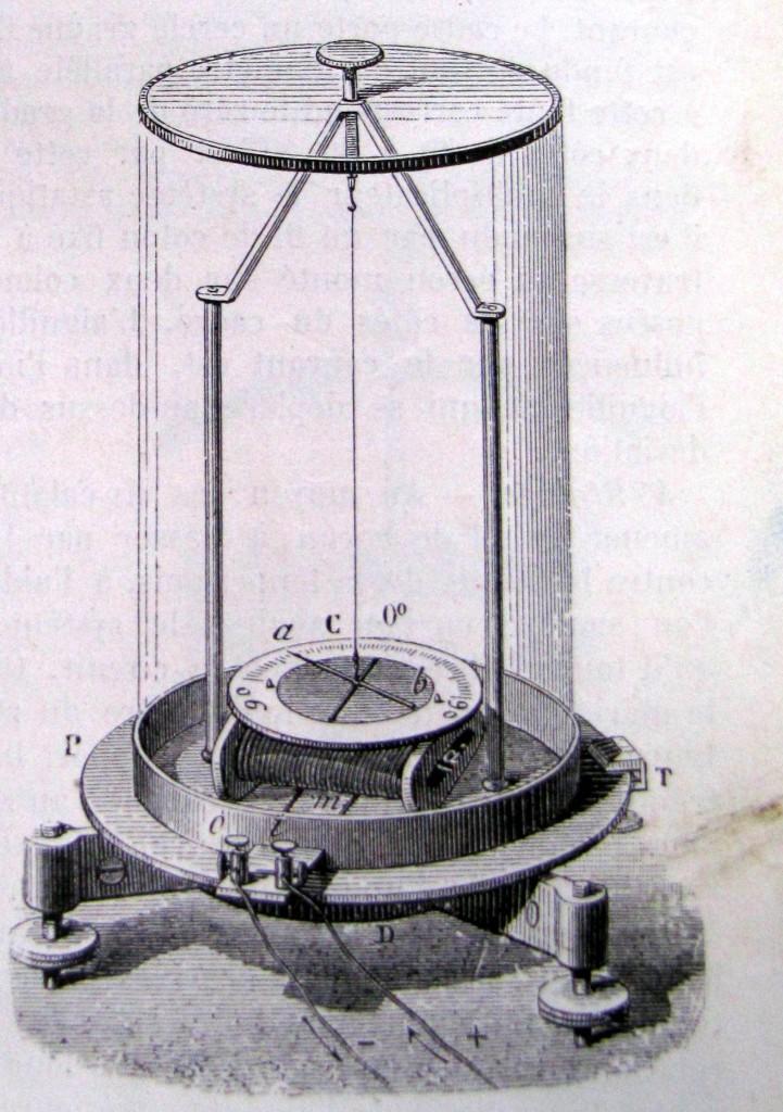 Galvanomètre (modèle de Ruhmkorff). Ganot, Adolphe. Traité élémentaire de physique. Paris: Hachette, [n.d]. Fig.882. Cote 39927.