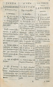 Chapitre 1 de l'éd. trilingue latin-grec-français de 1665, chez Daniel Elzevier à Amsterdam. Cote : 1R 34762