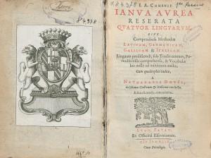 Page de titre de l'éd. quadrilingue latin-allemand-français-italien de 1644, chez Elzevier à Leyde, avec ex-libris armorié en regard. Cote : 1R 84978
