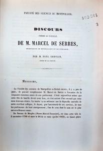 Gervais, Paul. Discours prononcé aux funérailles de M. Marcel de Serres. 1862. Cote 10564