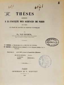 Page de titre de la thèse de Philippe van Tieghem
