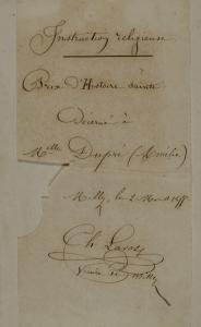 Ex-praemio manuscrit : Fouinet, Ernest. Le maître d'école de Montigny. Tours : Mame, 1853. Cote 2RA 2079