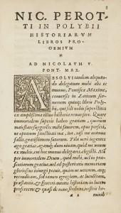 Historiographie de Polybe (Polybii historiographi Historiarum libri quinque. Nicolao Perotto interprete). Publié à Lyon en  1548. In-16°. Res2 29563