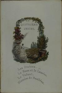 """""""Quatrième jeudi"""" de la série des """"Jeudis dans le château de ma tante"""". Paris, Librairie Lefuel, 1820. 2RA 1162-4"""