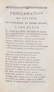 Un exemple de catéchisme révolutionnaire: le Catéchisme du genre humain (1789), attribué à François Boissel (1728-1807). Cette «proclamation» en vers ouvre le recueil.