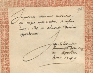 Autographe de Jean Sturm, daté de 1579