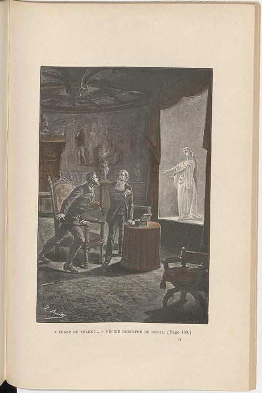 Jules Verne, Le Château des Carpathes, Paris, J. Hetzel et Cie, 1892,  p. 184, gravure hors texte – illustration de Léon Benett.