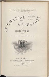 Jules Verne, Le Château des Carpathes, Paris, J. Hetzel et Cie, 1892,  Page de titre