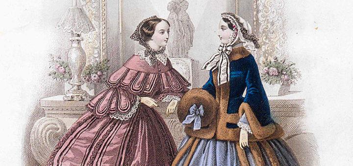 Gravure de mode, Journal des Demoiselles, vol.1856, n°II