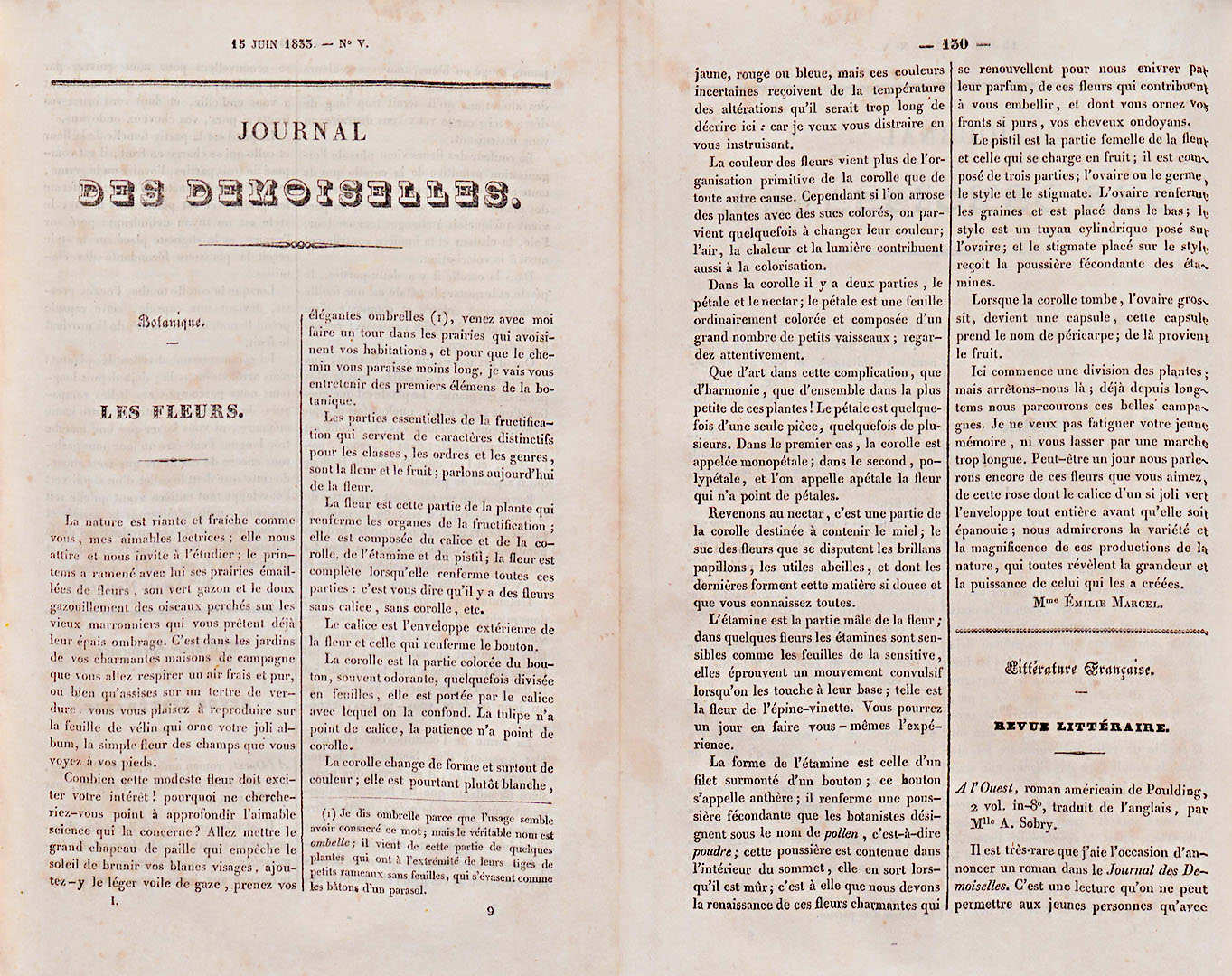 Article de la rubrique Botanique, Journal des Demoiselles, vol.1833