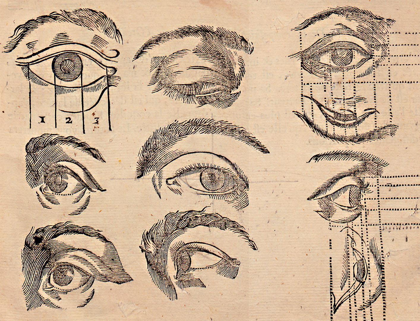L'art de dessiner par Jean Cousin, planche Les yeux