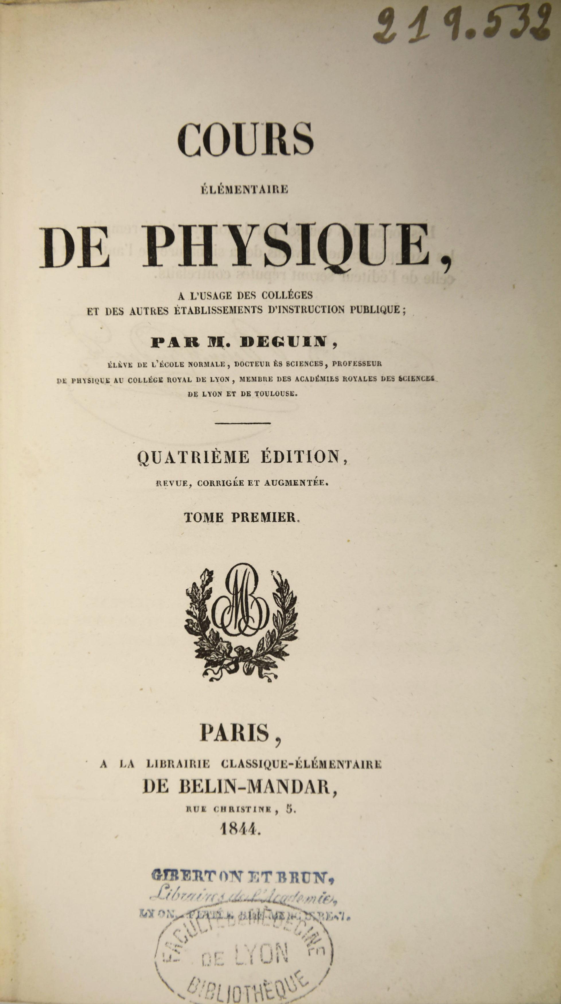 Cours elementaire de physique 1844_page de titre