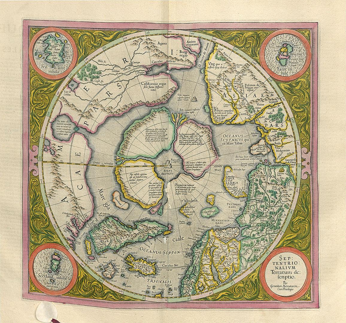 Septentrionaliumterrarum.S.l.:G.Mercator, 1595