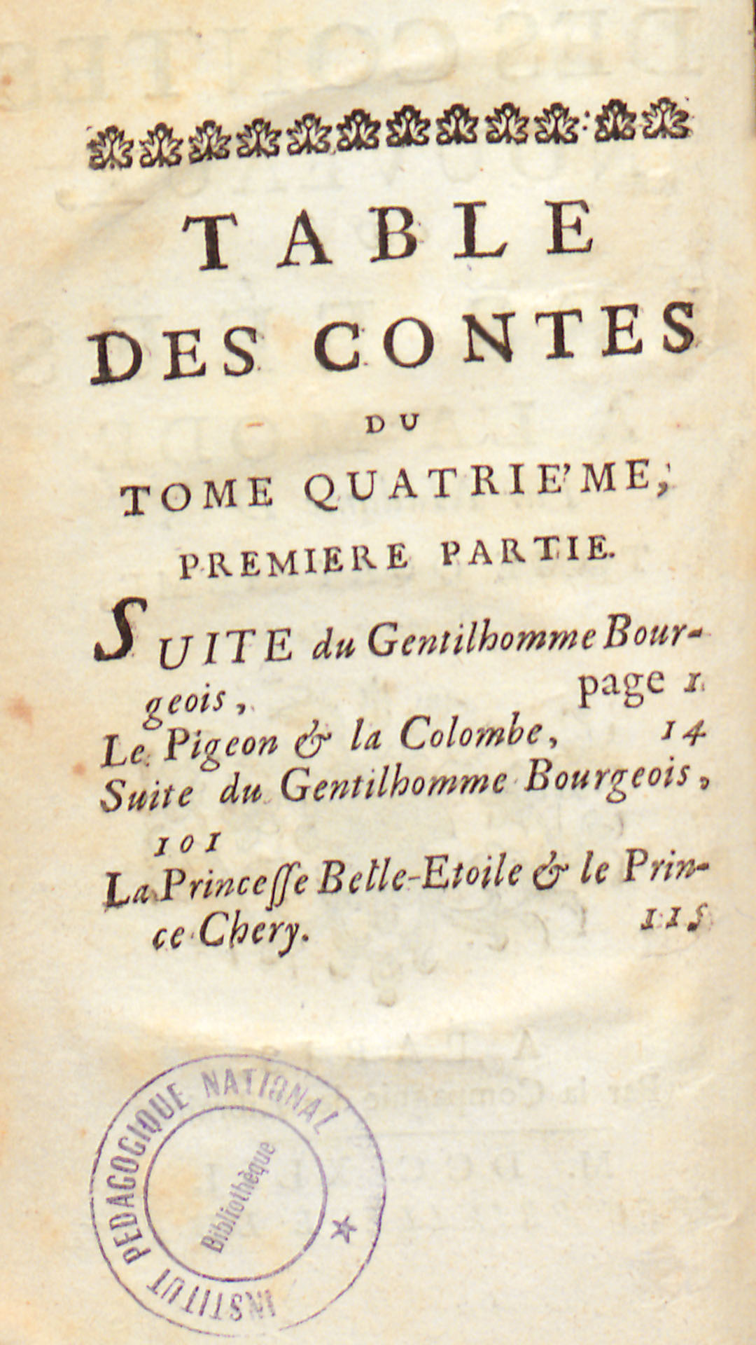 Table des contes, tome quatrième, première partie