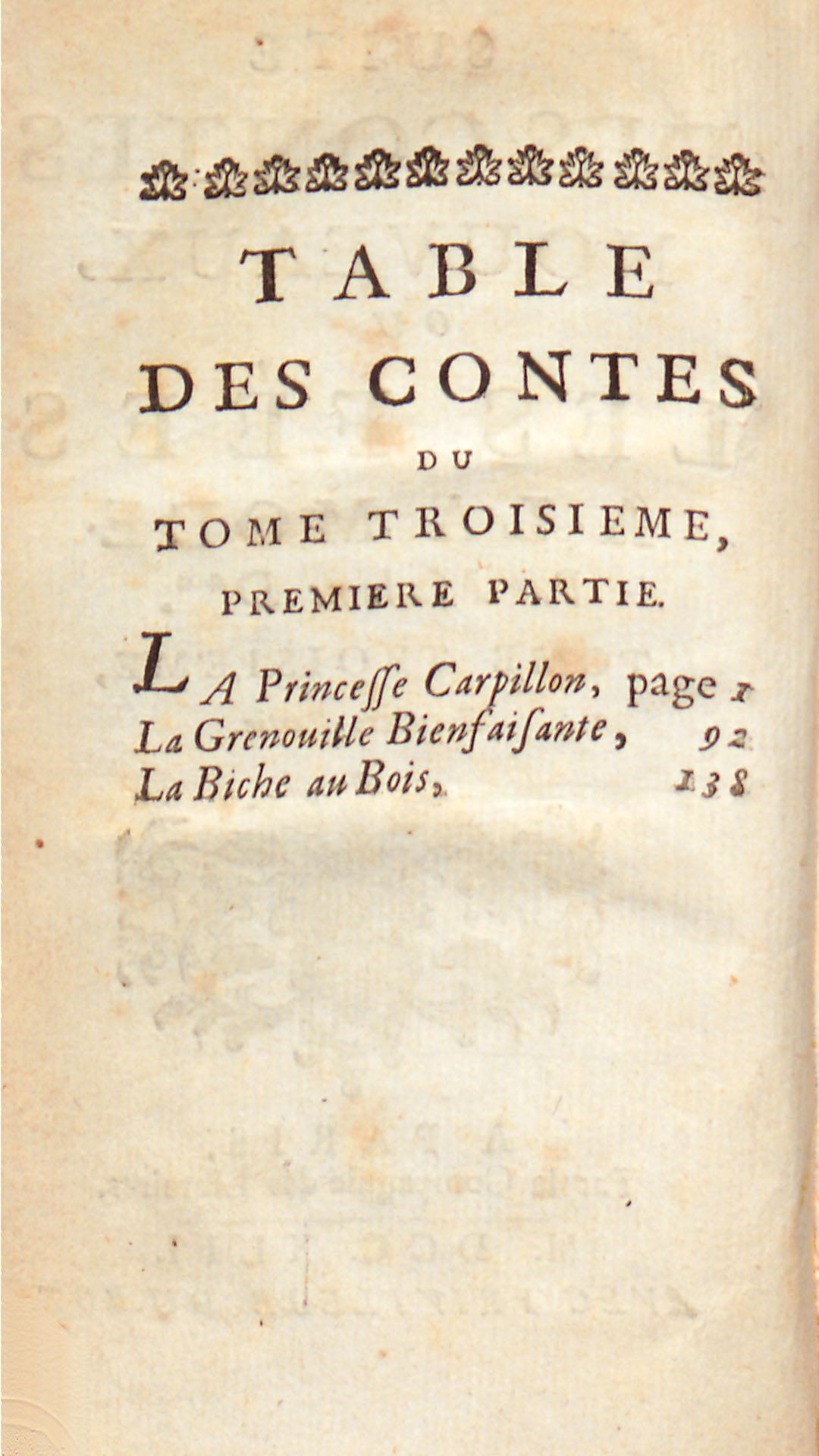 Table des contes, tome troisième, première partie