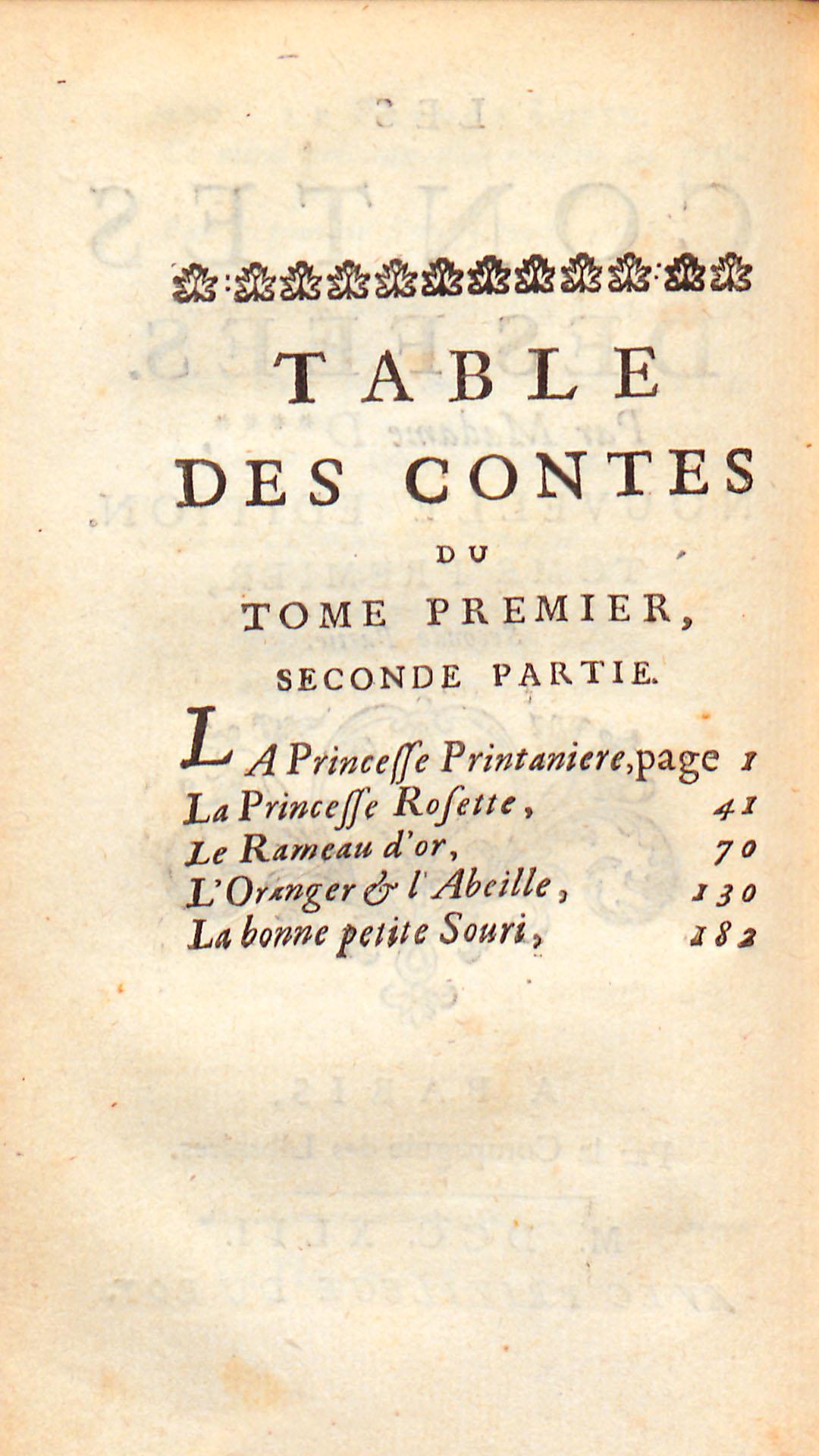 Table des contes, tome premier, seconde partie