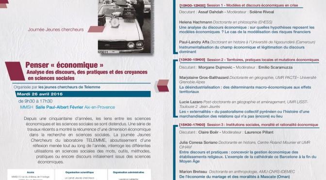 Journée des jeunes chercheurs Telemme, 26 avril 2016, mmsh, Aix-en-Provence