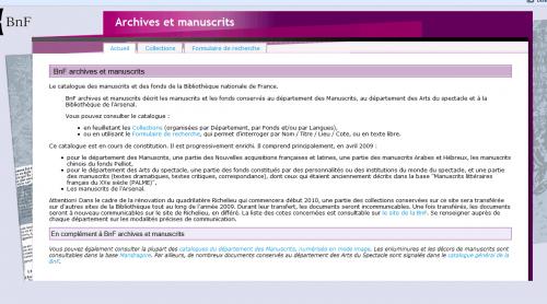 """Der Katalog """"Archives et manuscrits"""" der BnF"""