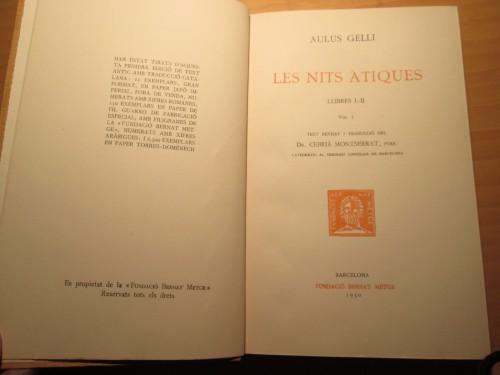 Noticia de las tiradas para la edición de Aulo Gelio en la Fundación Bernat Metge