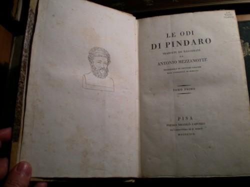 Precioso ejemplar de las Odas de Píndaro impreso en Italia a comienzos del siglo XIX (Biblioteca particular)