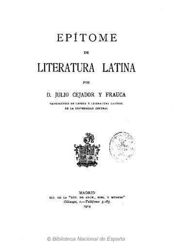 El epítome de Cejador, publicado en 1914