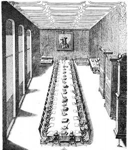 Une séance du Conseil Impérial Aulique. Gravure de 1700. Source : Wikimedia Commons.