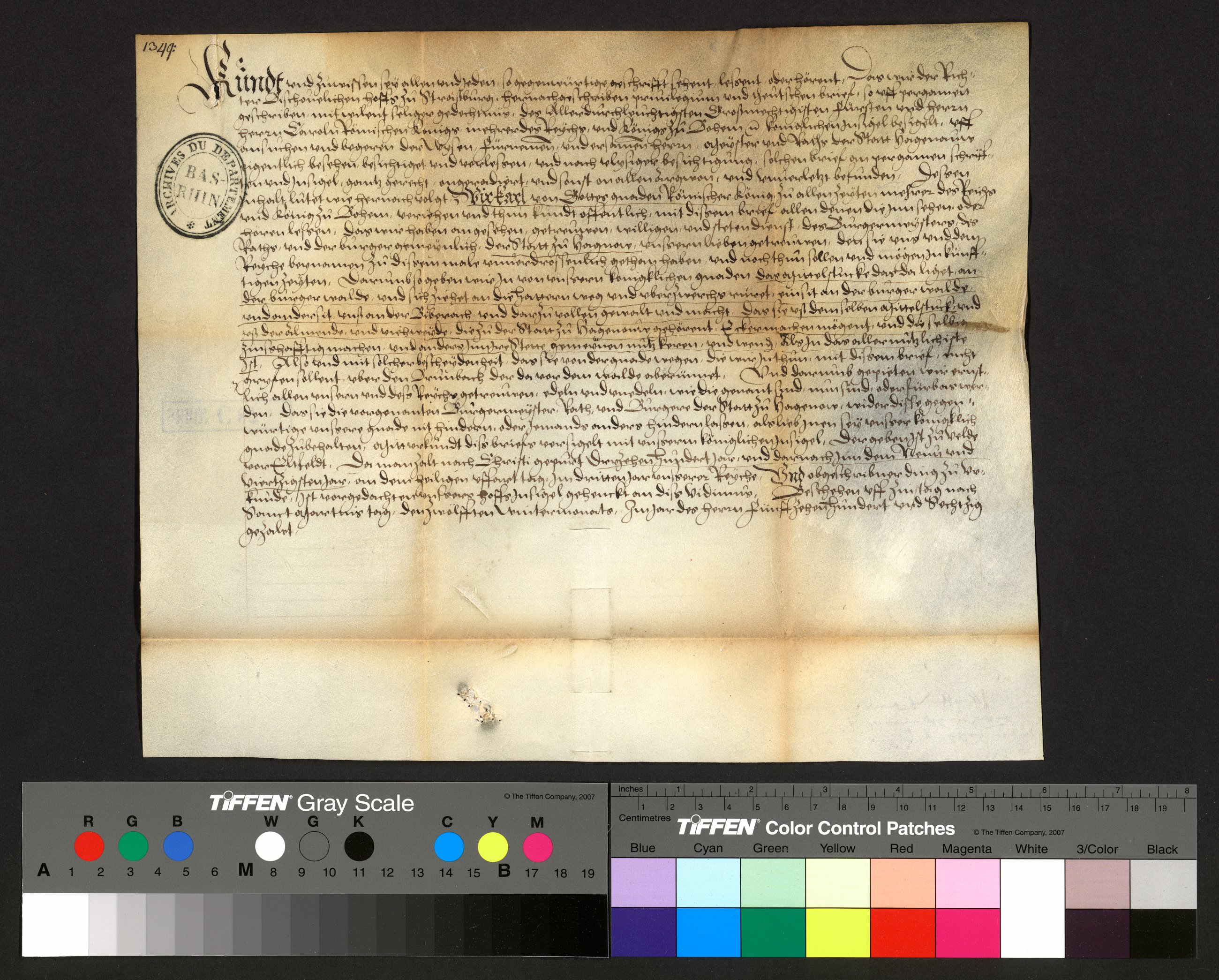 Eine digitalisierte Urkunde (Arch. dép. Bas-Rhin, C 87 (1)).
