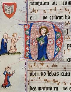 Initiale mit dem hl. Petrus, daneben das Stifterpaar mit ihrem Wappen sowie ein Werkmeister, aus dem Graduale des Zisterzienserinnenklosters Wonnental (ca. 1340–1350), BLB Karlsruhe UH 1