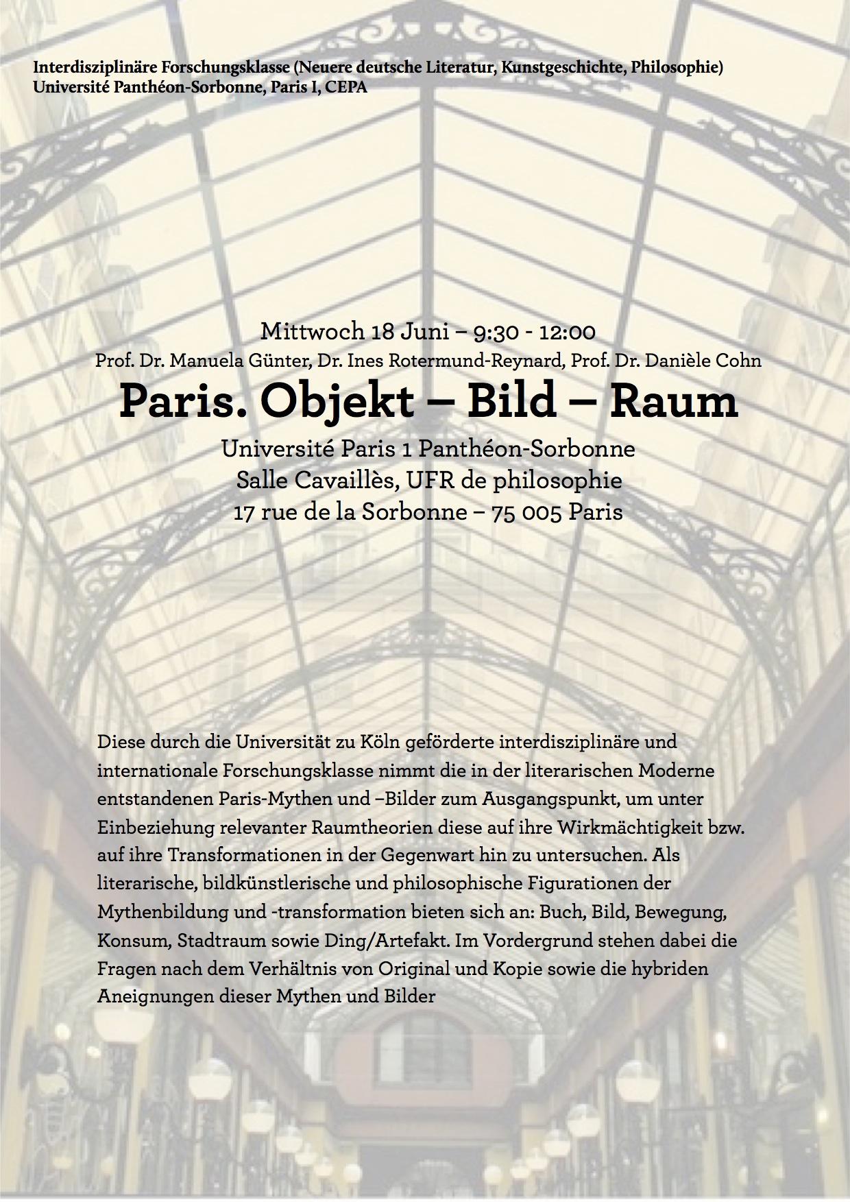 Paris. Objekt – Bild – Raum