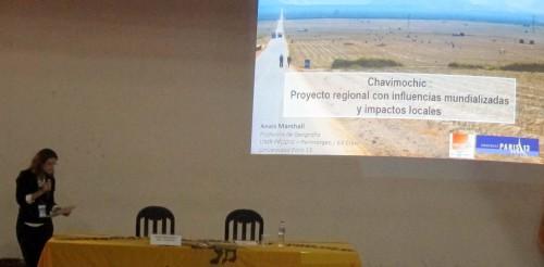 Conférence plénière d'Anaïs Marshall sur le grand projet d'irrigation de Chavimochi -