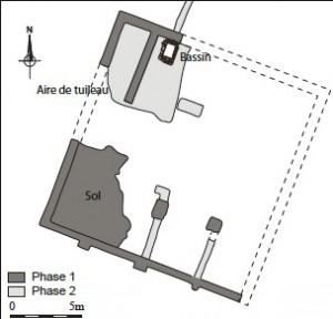 Plan général du bâtiment abritant la salle de vinification. DAO V. Jolly, J. Bohny.