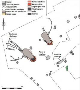 Plan de l'atelier de réduction directe gallo-romain de Roche Brune 1.  F. Sarreste, Eveha, Etudes et valorisations archéologiques / CAPRA / EA 3811 HeRMA