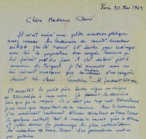 Extraits lettre 10 mai 1949, rencontre Sartre financement congrès RDR