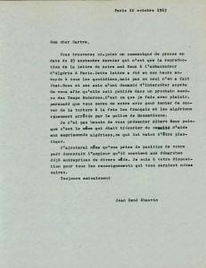 Lettre de Chauvin à Sartre à propos Albert Roux communiqué