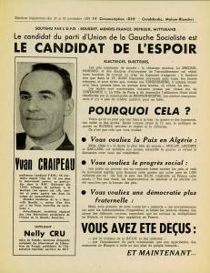 Affiche Craipeau UGS élections 1958 recto