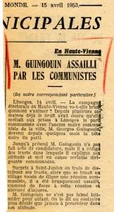 Le Monde 15 avril 1953 Guingouin