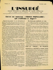 L'Insurgé n°21 Lyon Novembre 1943 - recto