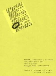 Page de garde du catalogue des productions du collectif Clivage