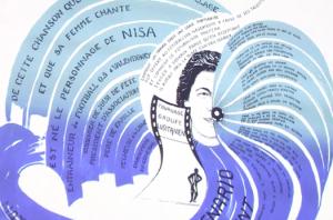 """Détail d'une affiche. Capture d'écran de l'enregistrement de la séance """"Vidéo et après, Le Lion, sa cage et ses ailes"""" (10 février 2014, Centre Pompidou)"""
