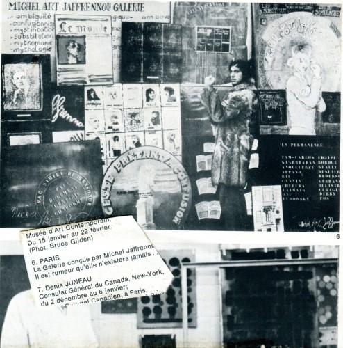 Michel Art Jaffrennou Galerie, performance pour une fausse Galerie à l'Université du Québec (Canada) et au Studio for creative movement (New York). Photo : fonds Michel Jaffrennou / BnF