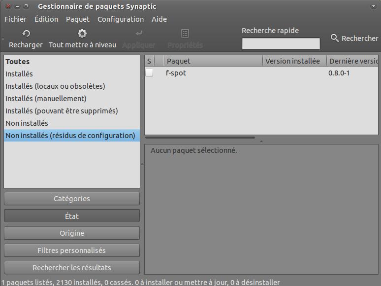 Suppression des fichiers de configuration dans Synaptic