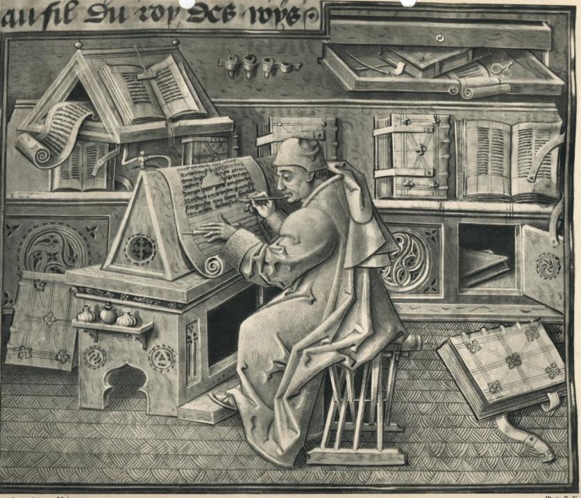 Copiste au travail dans un scriptorium (image tirée d'un manuscrit du 15e siècle)