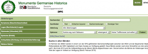 Das Suchinterface der MGH (www.dmgh.de).
