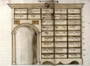 Zeichnung eines Archivschranks des 16. Jahrhunderts (QUelle: Wikimedia Commons)