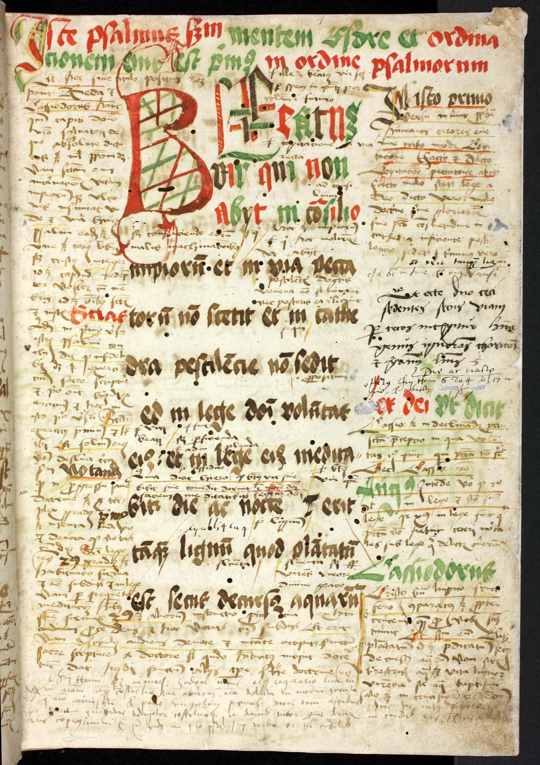 Handschrift aus dem Dominikanerkloster Luckau (Görlitz, Bistumsarchiv, Depositum Pfarrbibliothek Jauernick, Nr. 2, 2r: Beginn des glossierten Psalteriums)