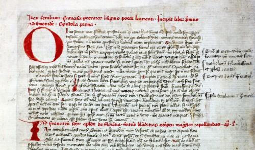 Abb. 4) Franciscus Petrarca: Rerum senilium libri, Mittelitalien (Toskana?), um 1390 (Leipzig, DNB, DBSM, Klemmsammlung I 103, 1r, Ausschnitt)