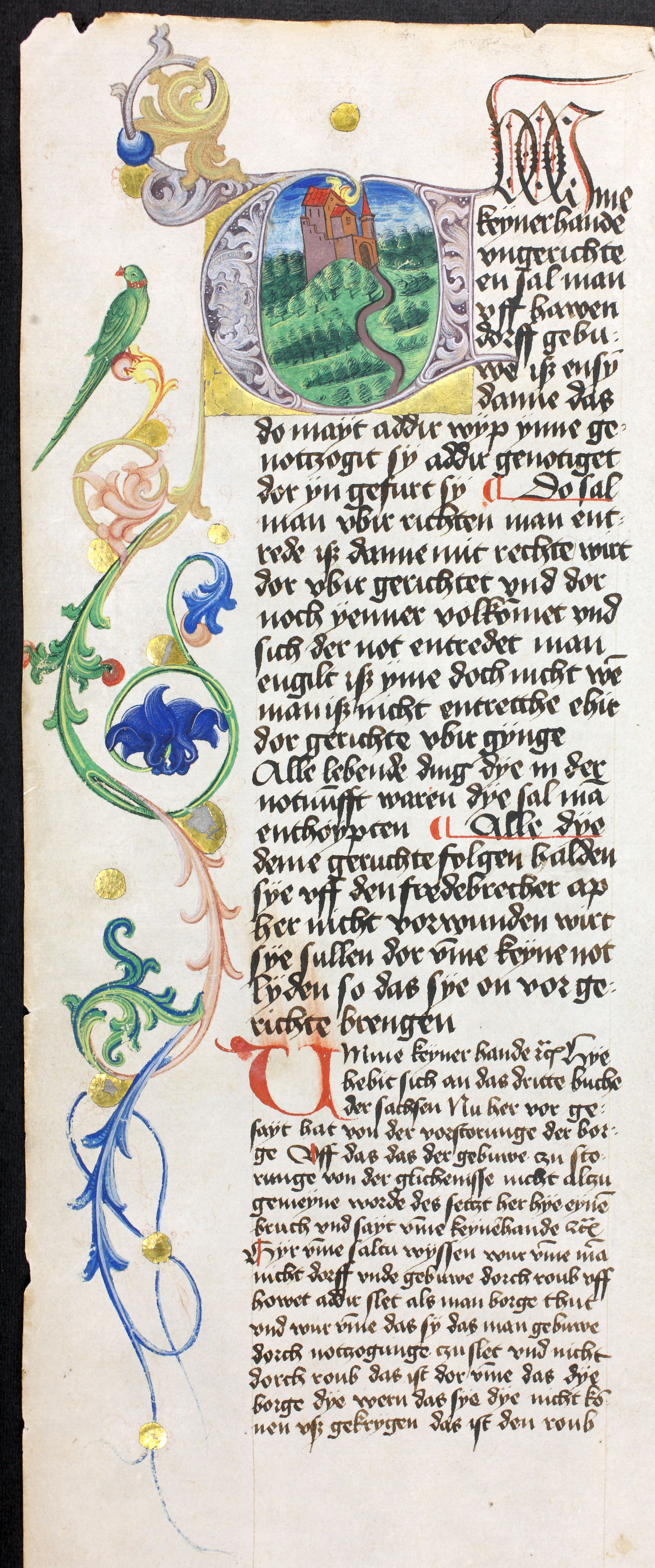 Abb. 7) Sachsenspiegel-Handschrift, geschrieben 1461 in Ostrau bei Halle, ausgestattet in der Leipziger Pfauenwerkstatt (Stadtgeschichtliches Museum Leipzig, II G 124, 119va, Detail)